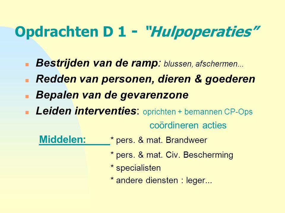 Opdrachten D 1 - Hulpoperaties
