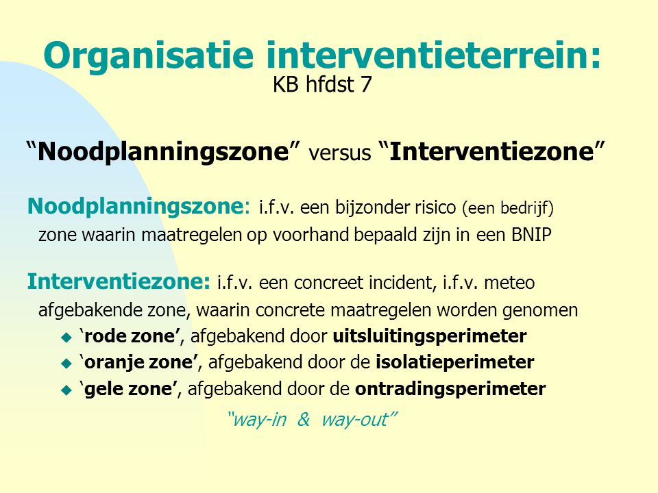 Organisatie interventieterrein: KB hfdst 7