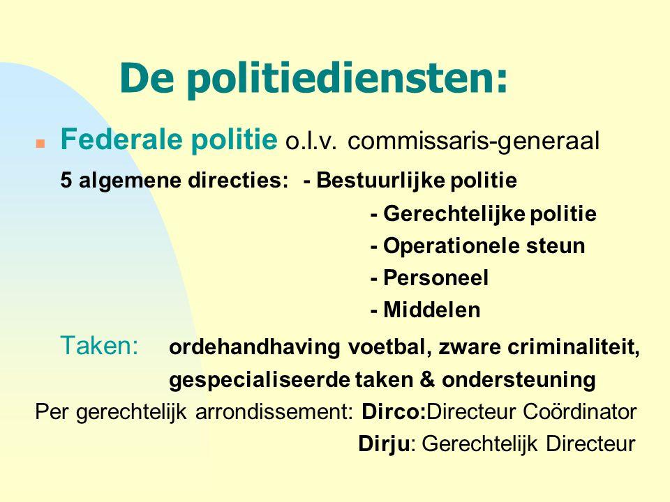 De politiediensten: Federale politie o.l.v. commissaris-generaal