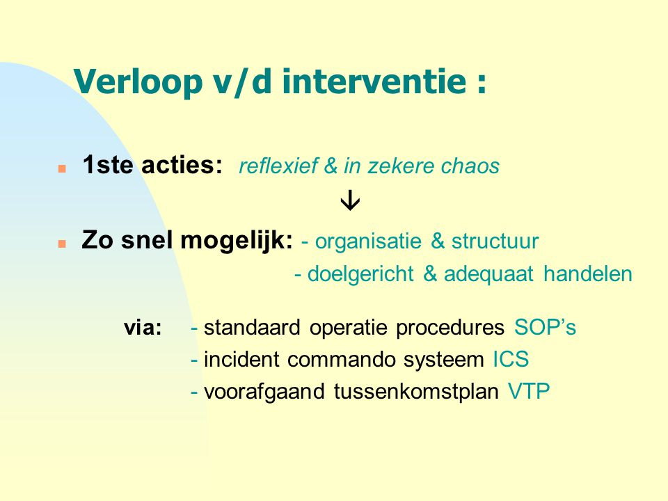 Verloop v/d interventie :