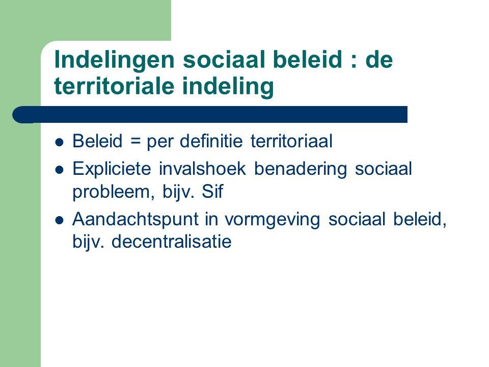 Indelingen sociaal beleid : de territoriale indeling