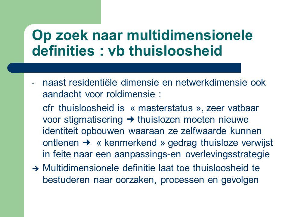 Op zoek naar multidimensionele definities : vb thuisloosheid