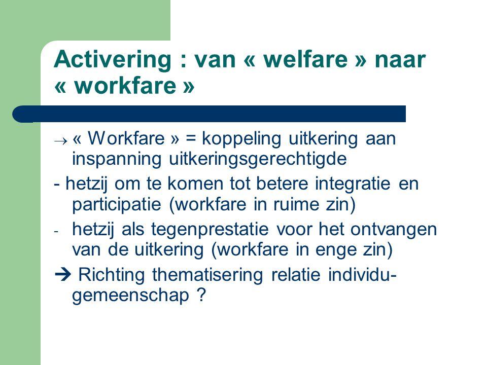 Activering : van « welfare » naar « workfare »