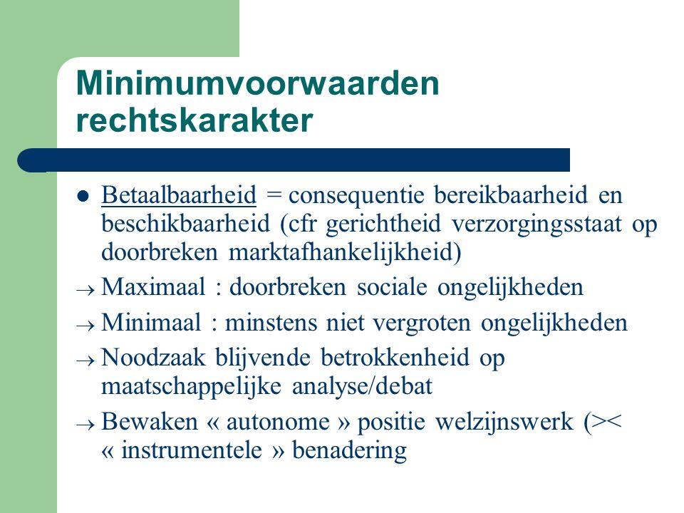 Minimumvoorwaarden rechtskarakter