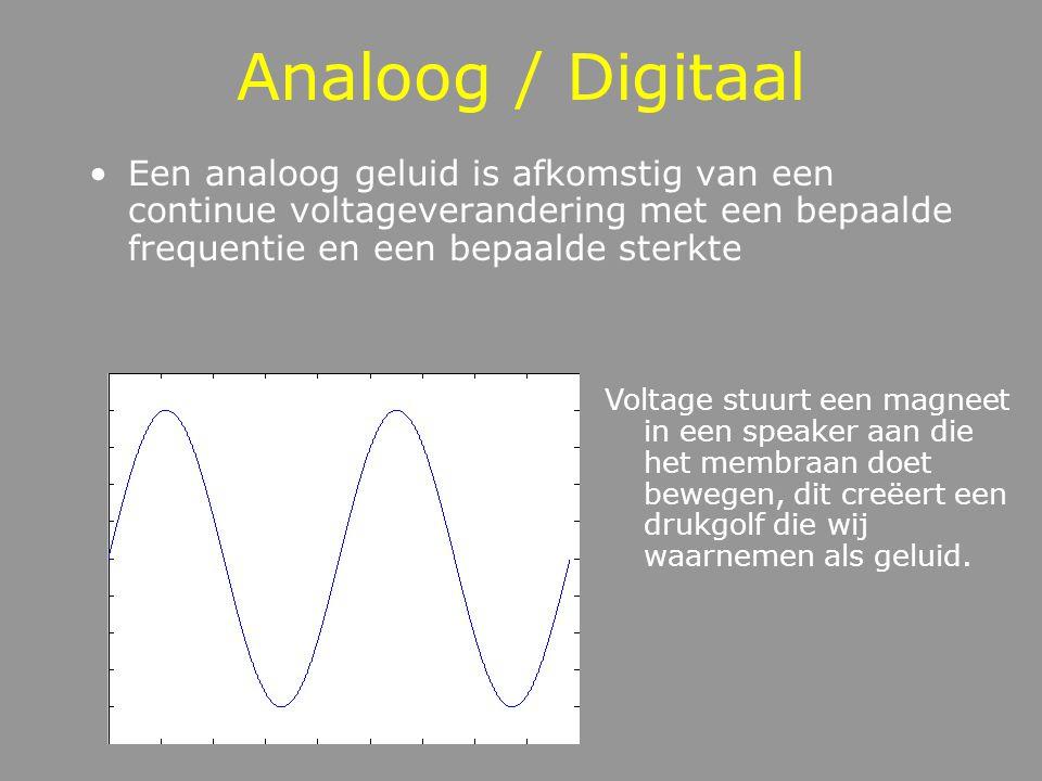 Analoog / Digitaal Een analoog geluid is afkomstig van een continue voltageverandering met een bepaalde frequentie en een bepaalde sterkte.