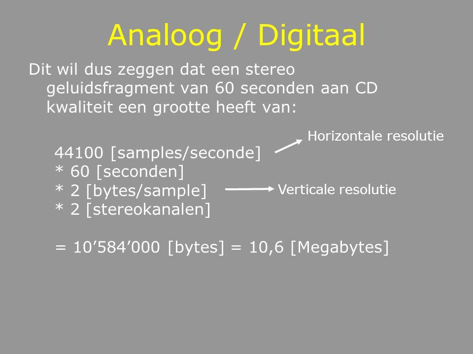 Analoog / Digitaal Dit wil dus zeggen dat een stereo geluidsfragment van 60 seconden aan CD kwaliteit een grootte heeft van:
