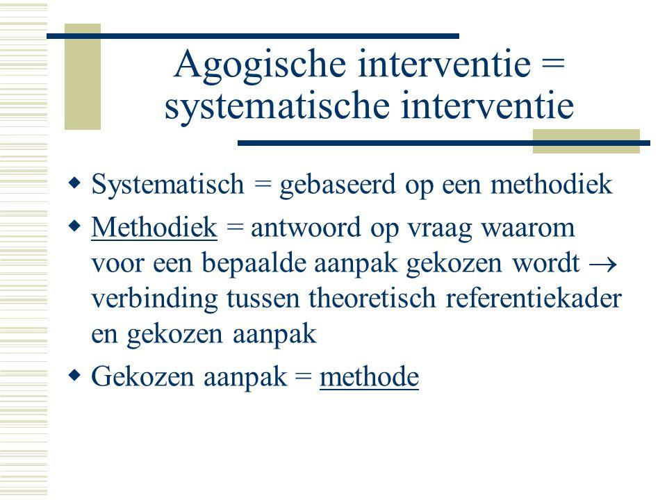 Agogische interventie = systematische interventie