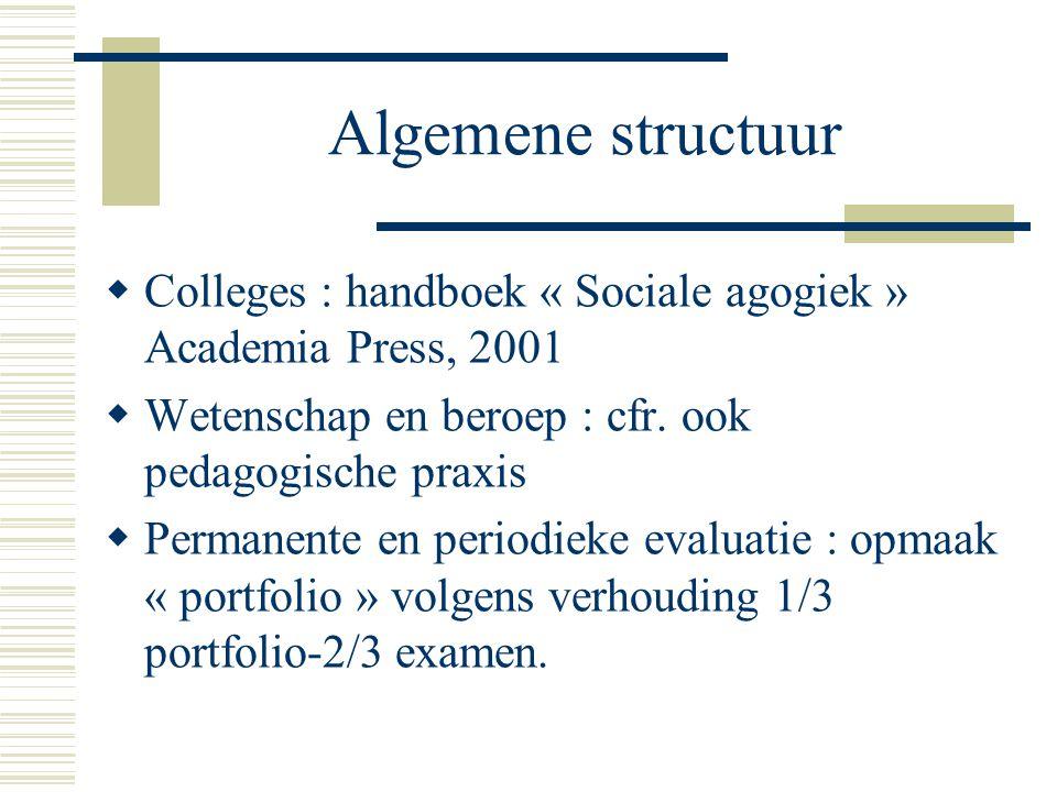 Algemene structuur Colleges : handboek « Sociale agogiek » Academia Press, 2001. Wetenschap en beroep : cfr. ook pedagogische praxis.