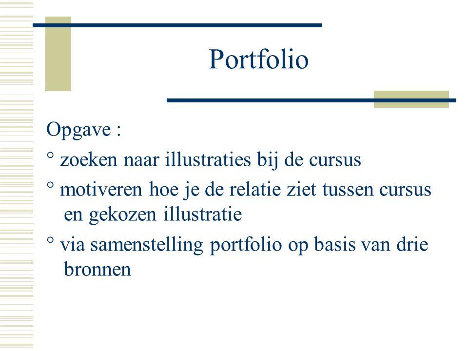 Portfolio Opgave : ° zoeken naar illustraties bij de cursus