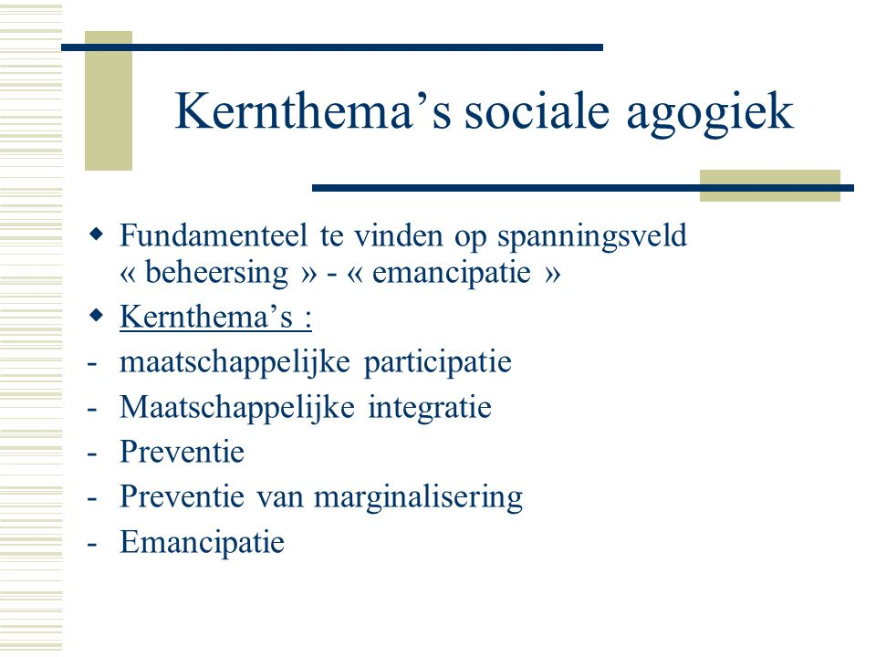 Kernthema's sociale agogiek