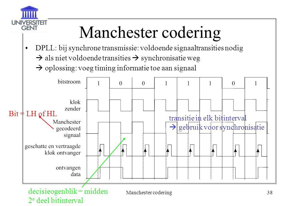 Manchester codering DPLL: bij synchrone transmissie: voldoende signaaltransities nodig.  als niet voldoende transities  synchronisatie weg.
