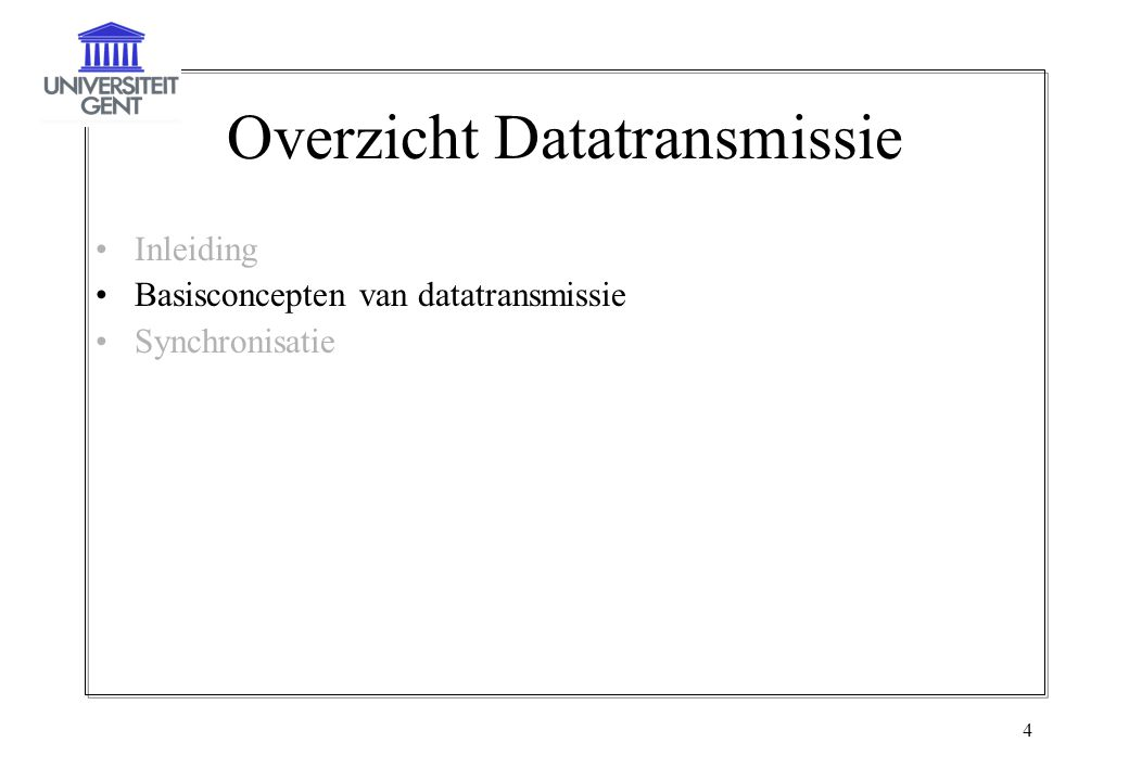Overzicht Datatransmissie