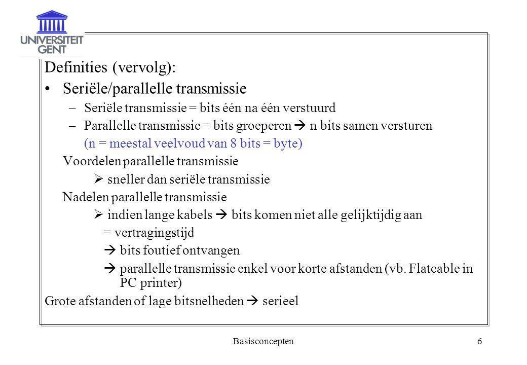 Definities (vervolg): Seriële/parallelle transmissie