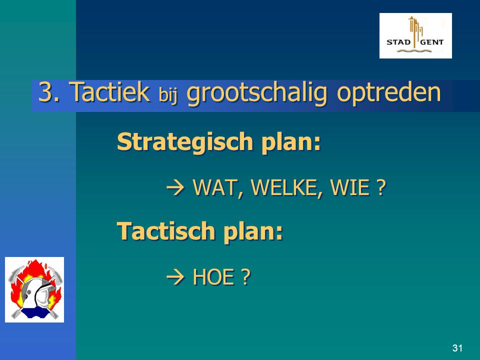 Strategisch plan:  WAT, WELKE, WIE Tactisch plan:  HOE