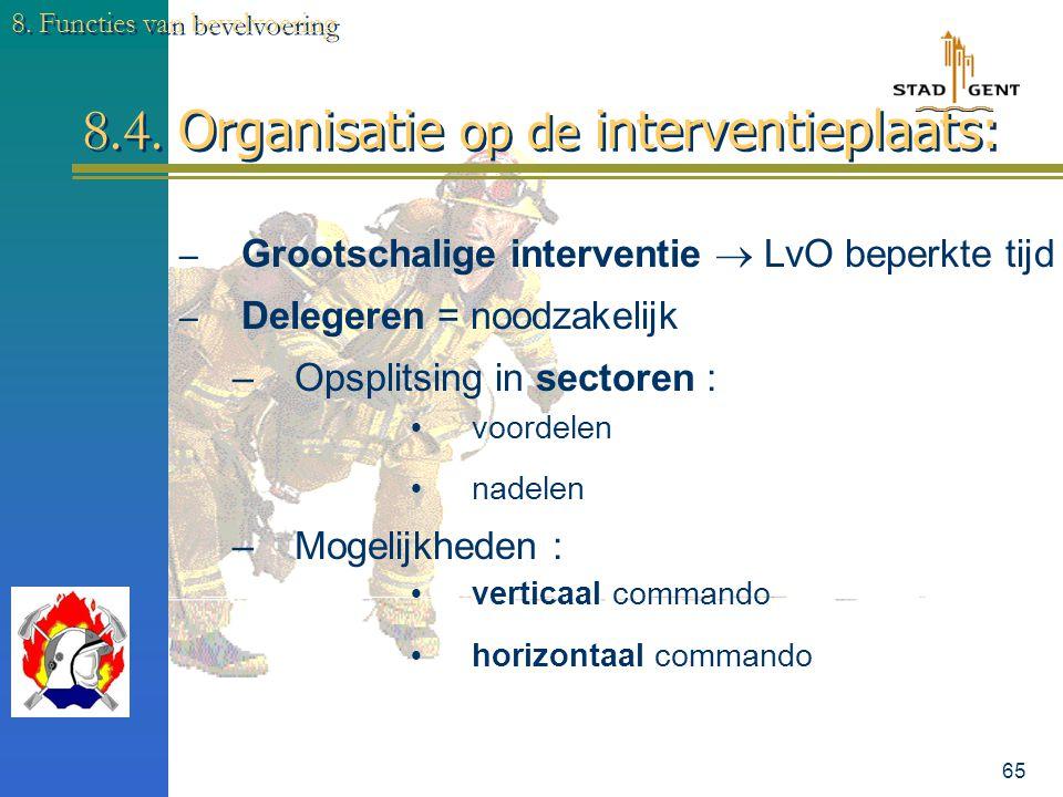 8.4. Organisatie op de interventieplaats: