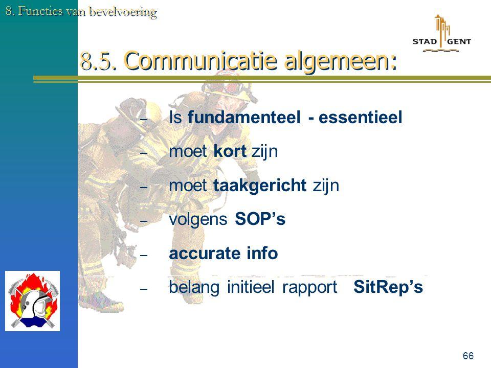 8.5. Communicatie algemeen: