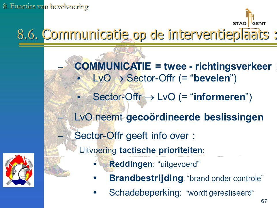 8.6. Communicatie op de interventieplaats :