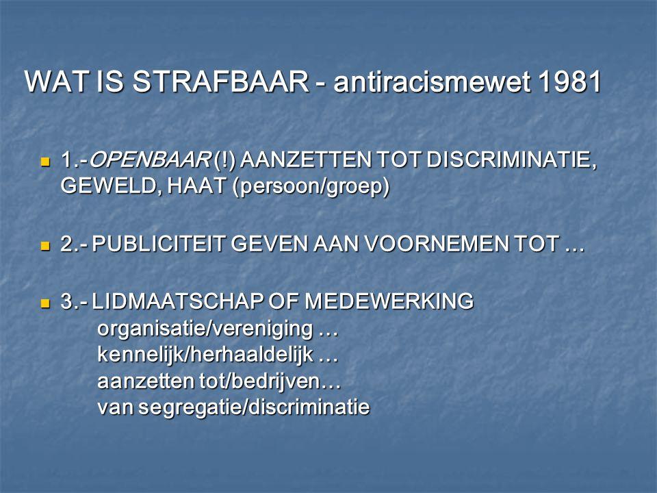 WAT IS STRAFBAAR - antiracismewet 1981