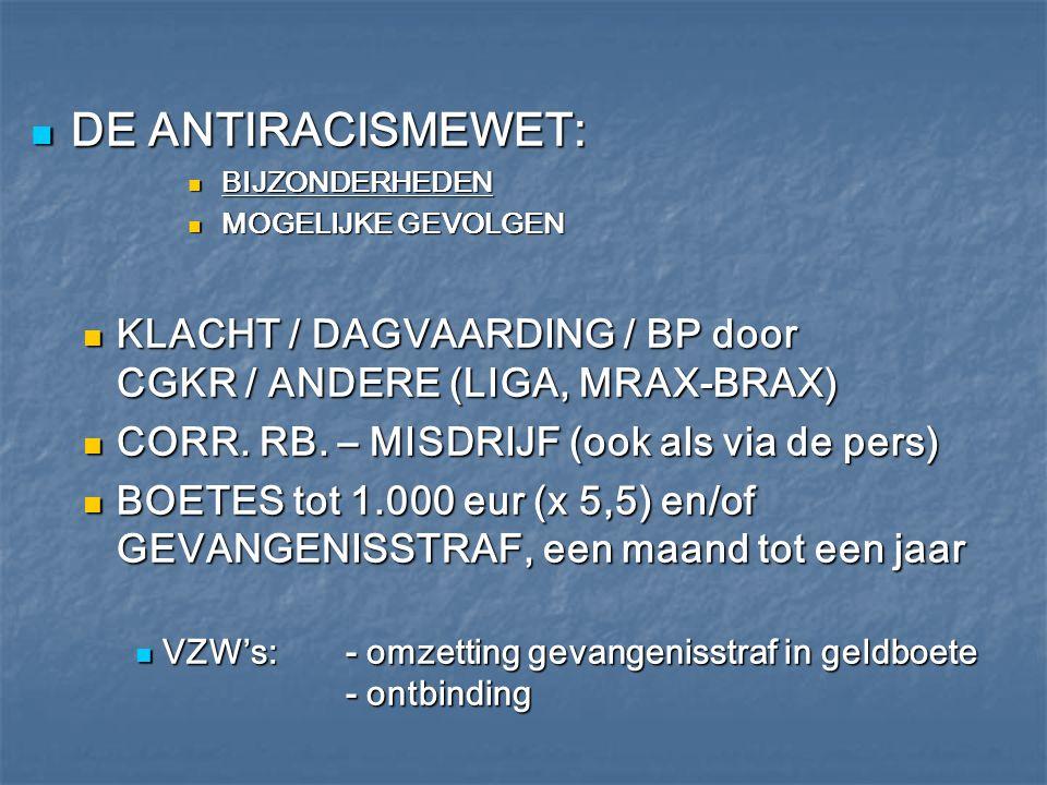 DE ANTIRACISMEWET: BIJZONDERHEDEN. MOGELIJKE GEVOLGEN. KLACHT / DAGVAARDING / BP door CGKR / ANDERE (LIGA, MRAX-BRAX)