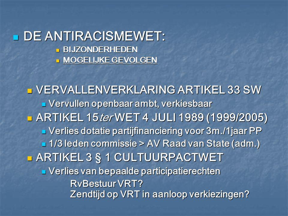 DE ANTIRACISMEWET: VERVALLENVERKLARING ARTIKEL 33 SW