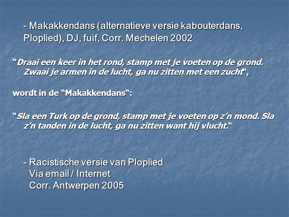 - Makakkendans (alternatieve versie kabouterdans, Ploplied), DJ, fuif, Corr. Mechelen 2002