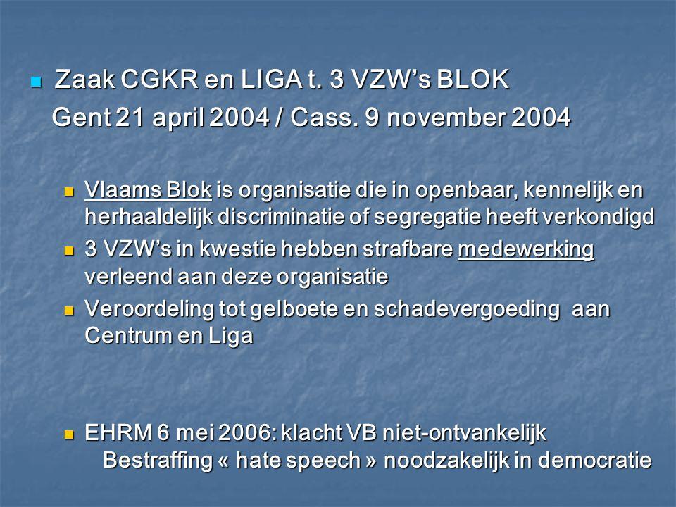 Zaak CGKR en LIGA t. 3 VZW's BLOK