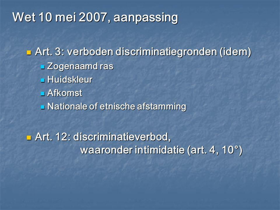 Wet 10 mei 2007, aanpassing Art. 3: verboden discriminatiegronden (idem) Zogenaamd ras. Huidskleur.