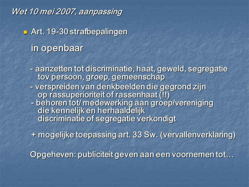 Wet 10 mei 2007, aanpassing Art. 19-30 strafbepalingen in openbaar.