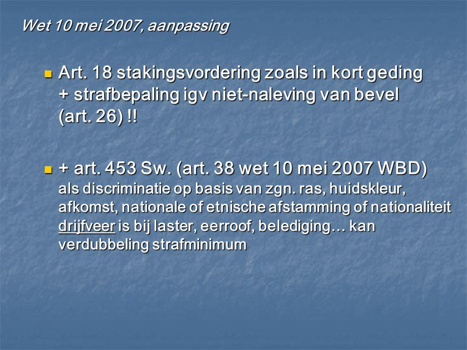 Wet 10 mei 2007, aanpassing Art. 18 stakingsvordering zoals in kort geding + strafbepaling igv niet-naleving van bevel (art. 26) !!