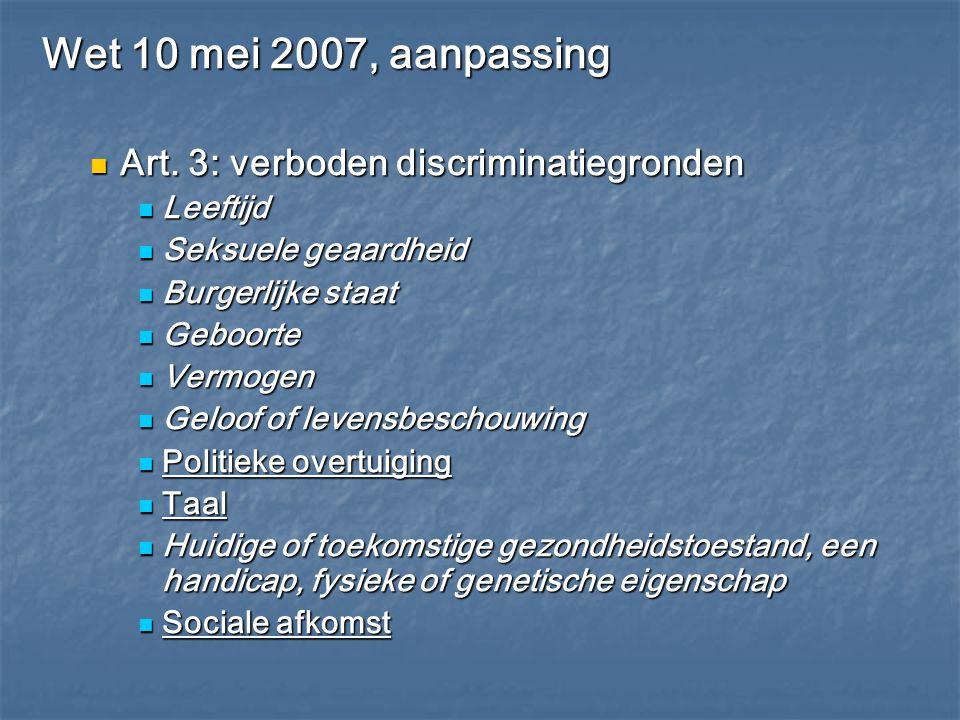 Wet 10 mei 2007, aanpassing Art. 3: verboden discriminatiegronden