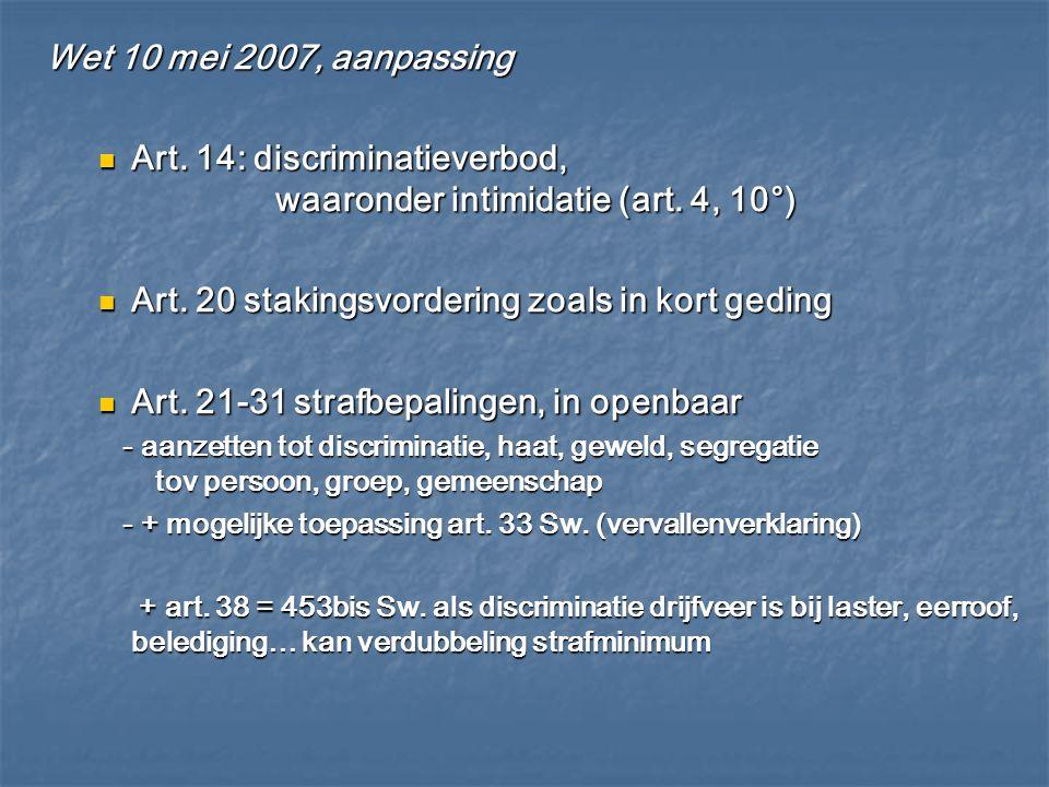 Art. 14: discriminatieverbod, waaronder intimidatie (art. 4, 10°)
