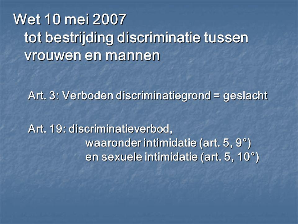 Wet 10 mei 2007 tot bestrijding discriminatie tussen vrouwen en mannen