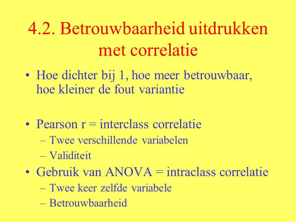 4.2. Betrouwbaarheid uitdrukken met correlatie