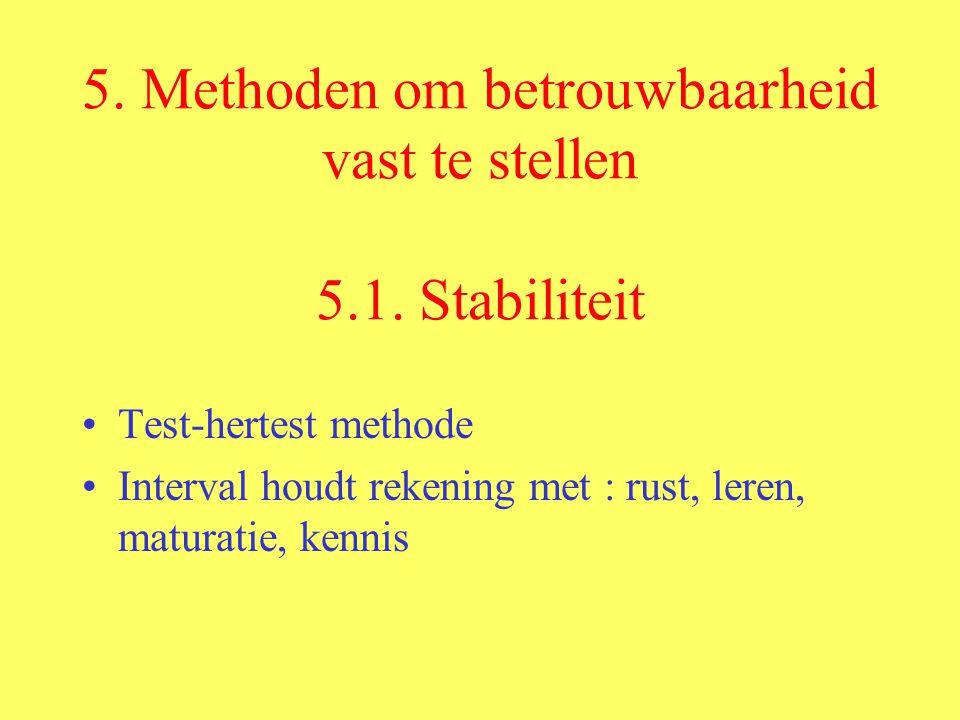 5. Methoden om betrouwbaarheid vast te stellen 5.1. Stabiliteit