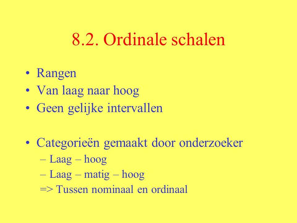 8.2. Ordinale schalen Rangen Van laag naar hoog