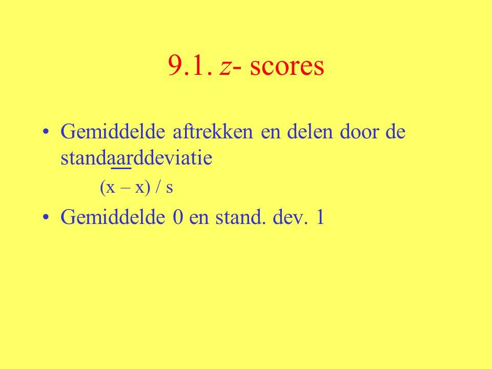 9.1. z- scores Gemiddelde aftrekken en delen door de standaarddeviatie