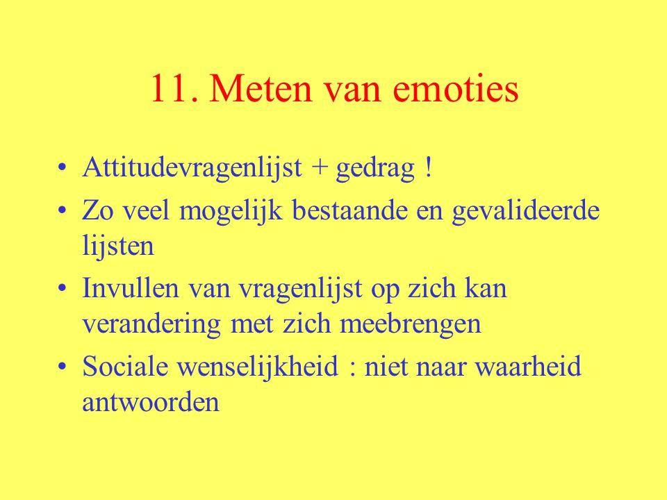 11. Meten van emoties Attitudevragenlijst + gedrag !