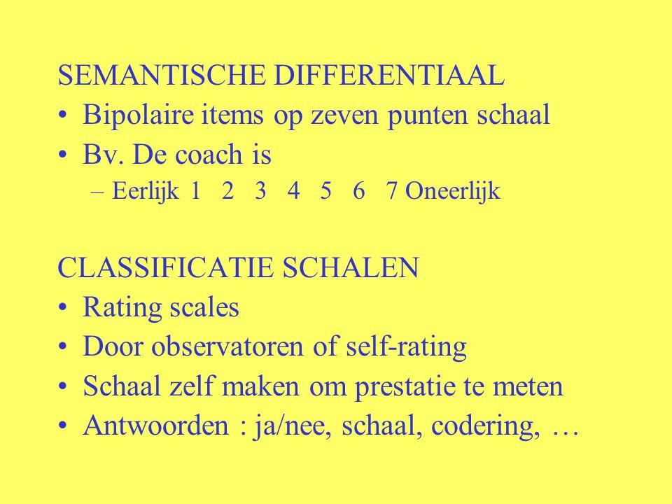 SEMANTISCHE DIFFERENTIAAL Bipolaire items op zeven punten schaal
