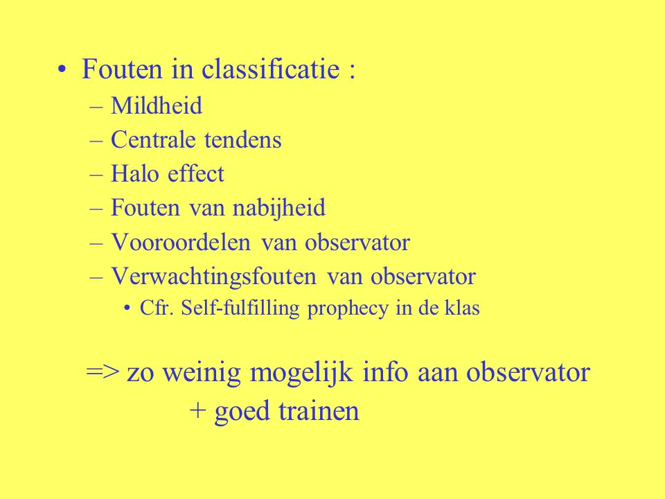 Fouten in classificatie :