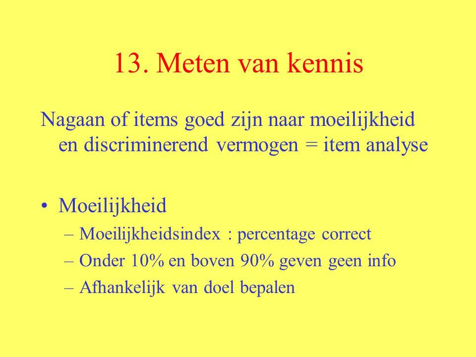 13. Meten van kennis Nagaan of items goed zijn naar moeilijkheid en discriminerend vermogen = item analyse.