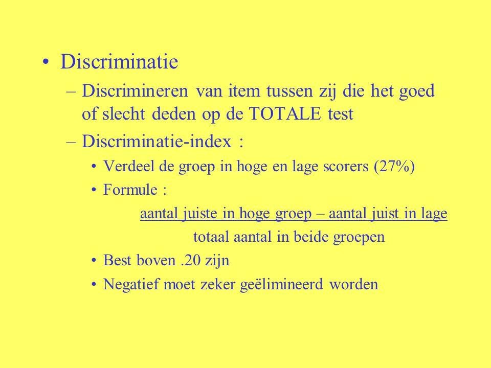 Discriminatie Discrimineren van item tussen zij die het goed of slecht deden op de TOTALE test. Discriminatie-index :