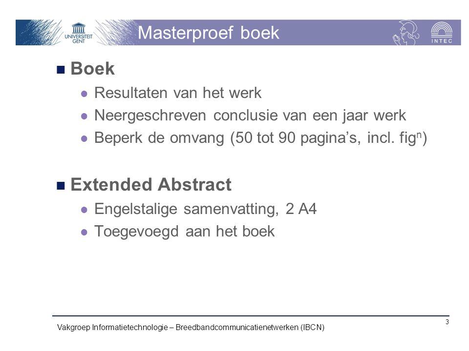 Masterproef boek Boek Extended Abstract Resultaten van het werk