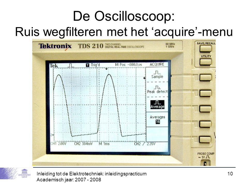 De Oscilloscoop: Ruis wegfilteren met het 'acquire'-menu