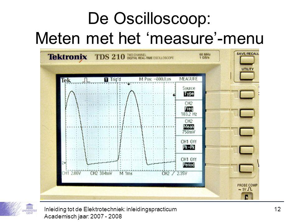 De Oscilloscoop: Meten met het 'measure'-menu