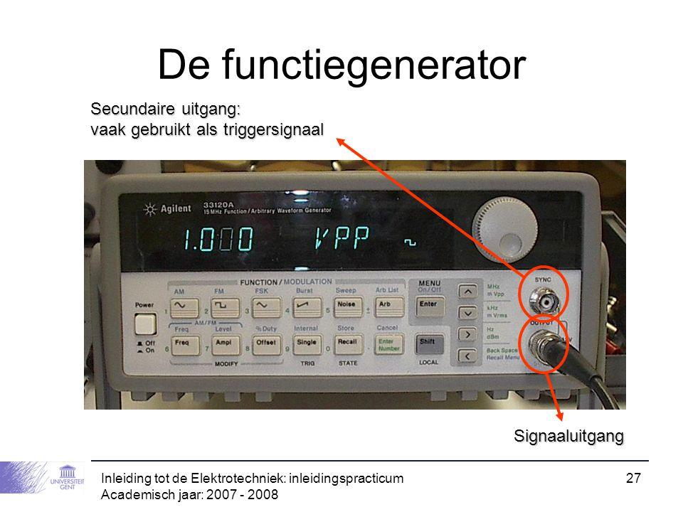 De functiegenerator Secundaire uitgang: