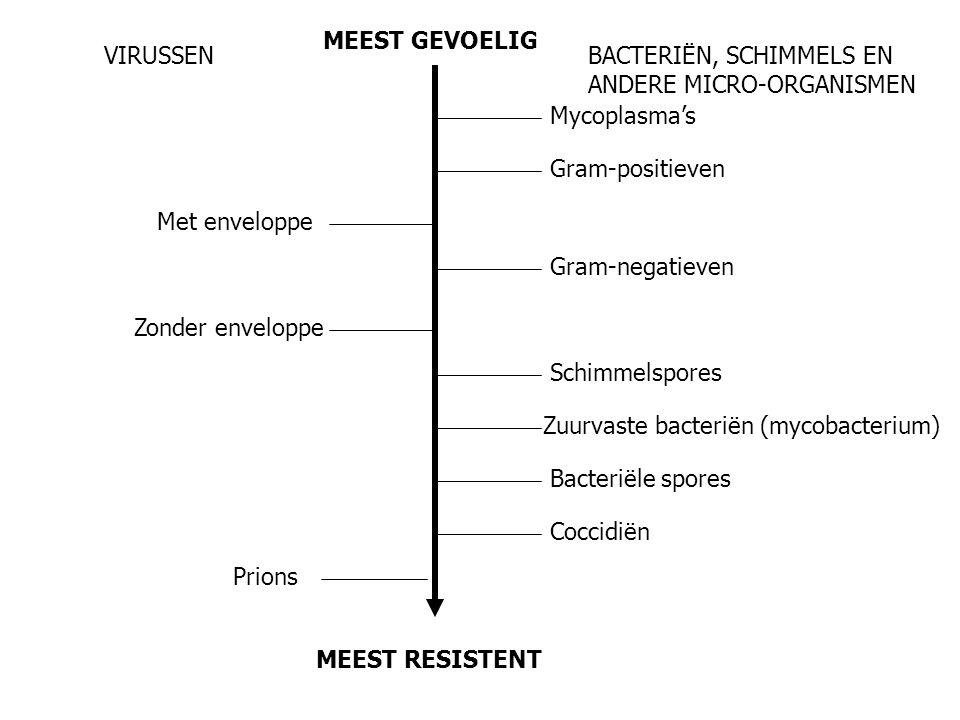 MEEST GEVOELIG VIRUSSEN. BACTERIËN, SCHIMMELS EN ANDERE MICRO-ORGANISMEN. Mycoplasma's. Gram-positieven.