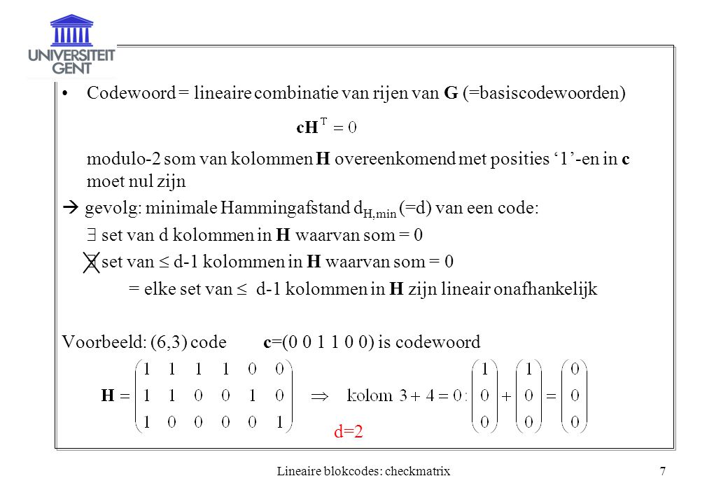 Lineaire blokcodes: checkmatrix