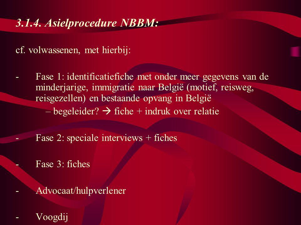 3.1.4. Asielprocedure NBBM: cf. volwassenen, met hierbij:
