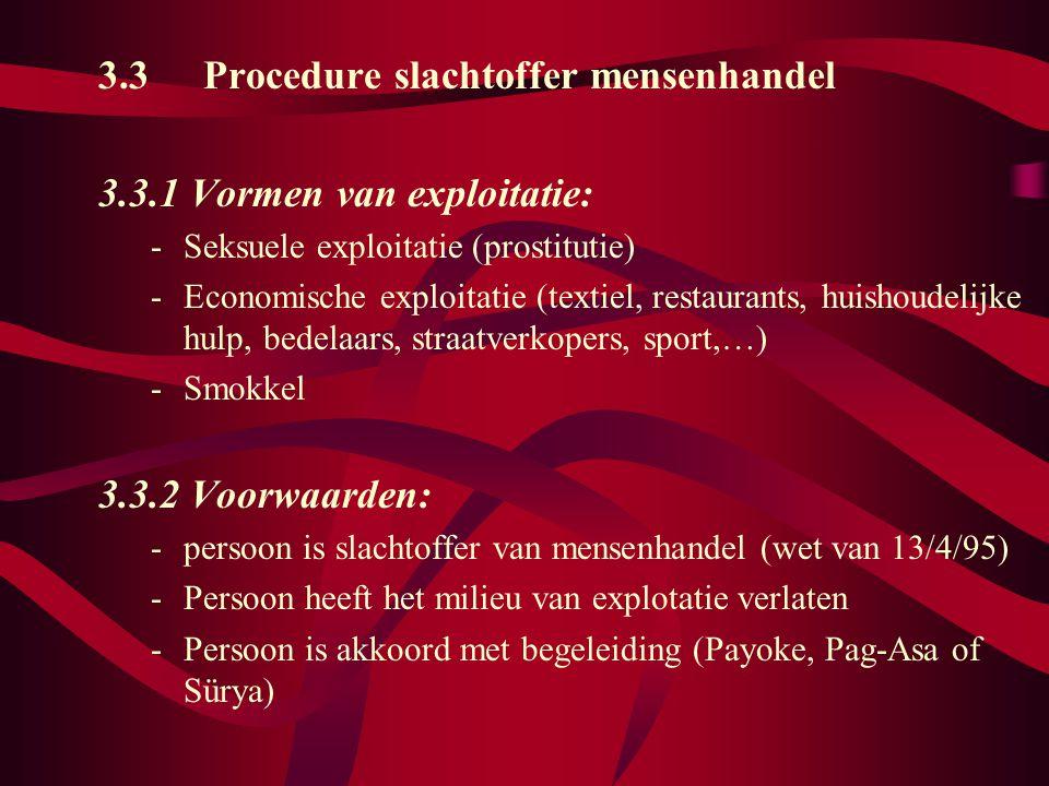 3.3 Procedure slachtoffer mensenhandel 3.3.1 Vormen van exploitatie: