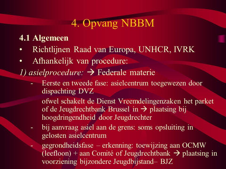 4. Opvang NBBM 4.1 Algemeen Richtlijnen Raad van Europa, UNHCR, IVRK